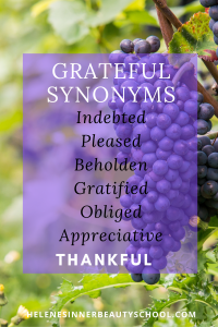 Ripe purple grapes in a luscious green vine is the background for synonyms of grateful