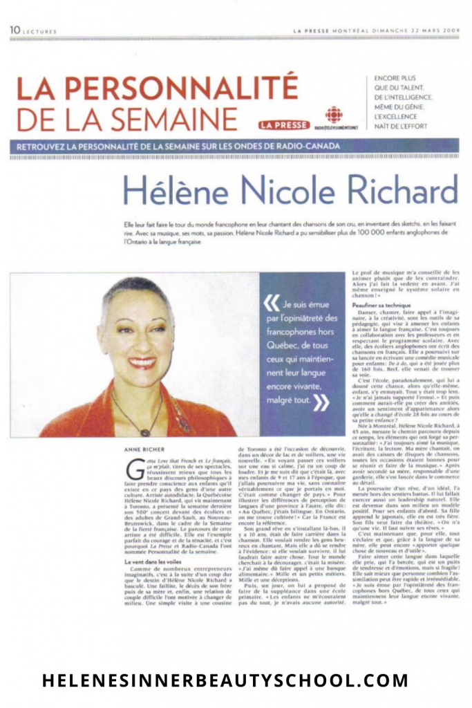 Newspaper article featuring Hélène as Personality of the week in a Montreal's newspaper.