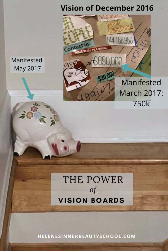 Collage of a vision board and it's manifestation