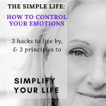 A woman face cropped to show the left part only, black and white. She looks serene. The caption says How to control your emotions.