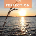 Sunset on a lake, Wheat in the wind. Quote: Progress not perfection