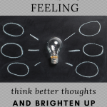 A light bulb surrounded by thought bubbles. The image aims to shine light on what brings good and bad feelings, our thinking.